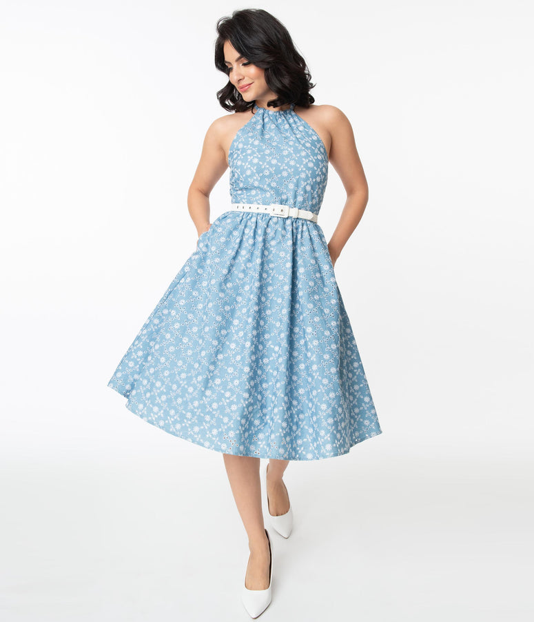 Unique Vintage Chambray & White Floral Eyelet Lombard Swing Dress
