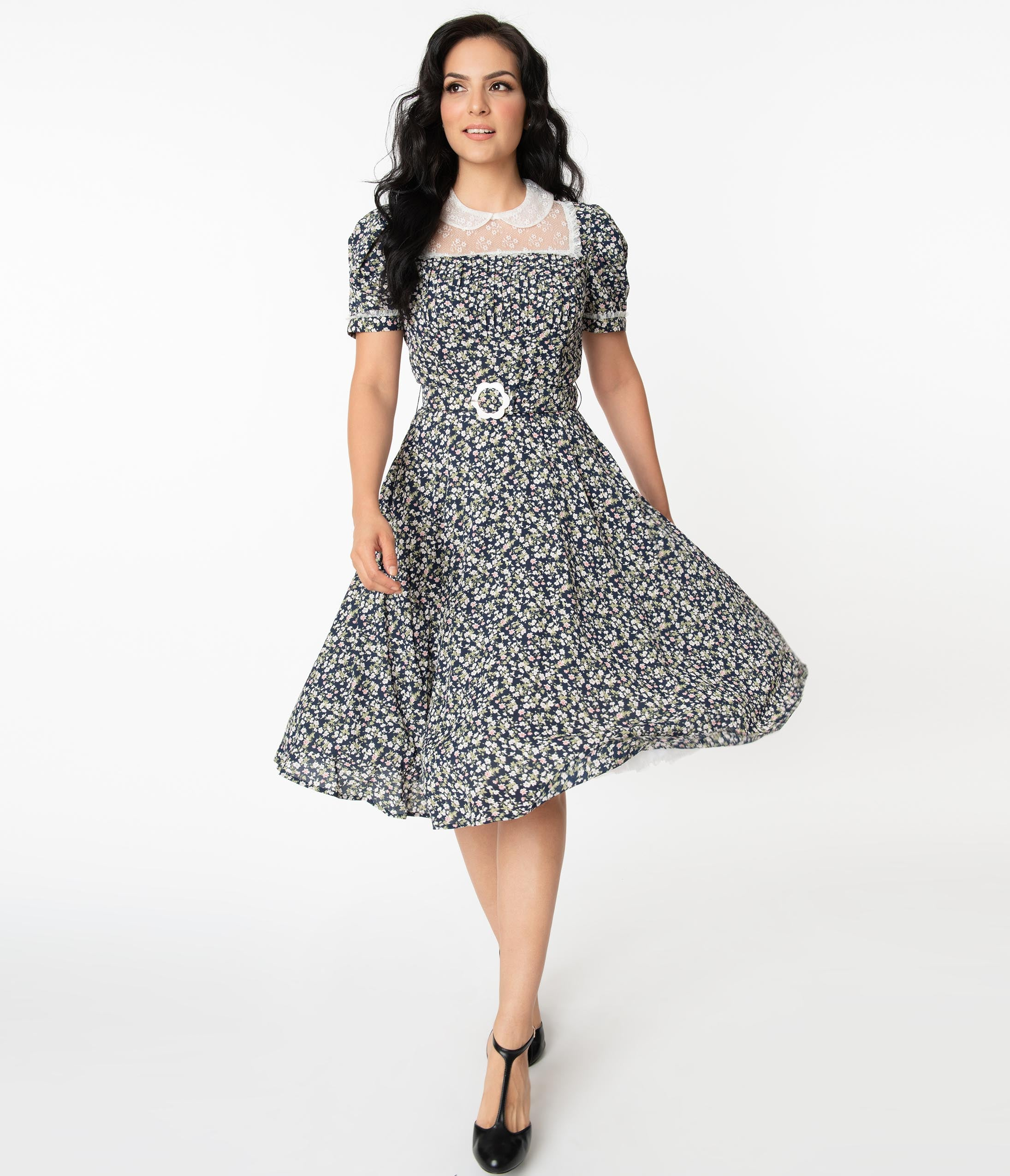 1940s Fashion Advice for Tall Women Unique Vintage Navy Blue Dainty Floral Morton Swing Dress $78.00 AT vintagedancer.com