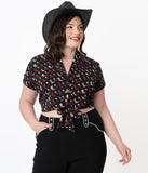 Unique Vintage Plus Size Cowgirl Boots Print Shirley Crop Top