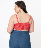 Unique Vintage Plus Size Red Bandana Print Chessie Crop Top