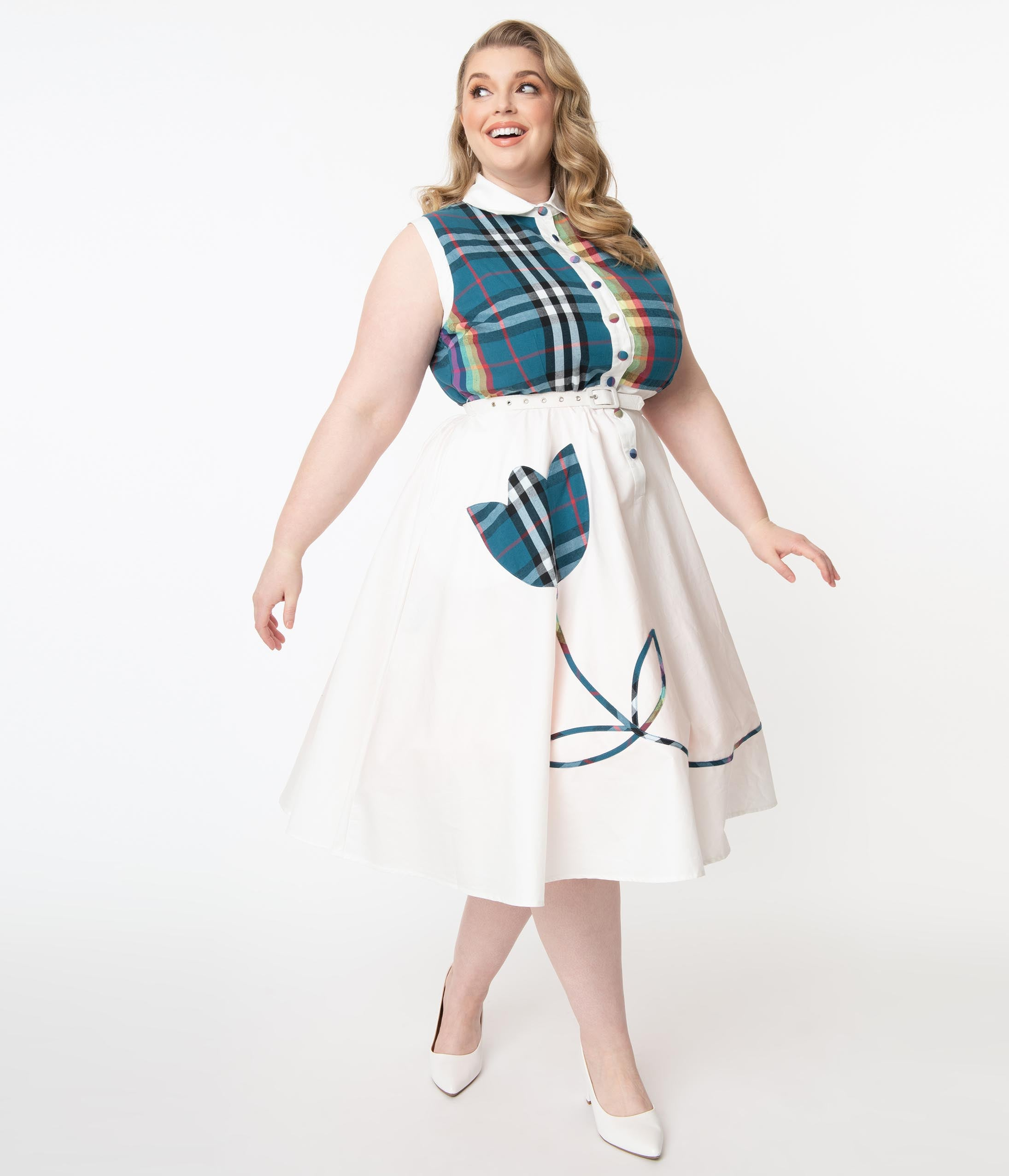 1950s Plus Size Dresses, Swing Dresses Unique Vintage Plus Size Ivory  Teal Rainbow Plaid Bethany Swing Dress $88.00 AT vintagedancer.com