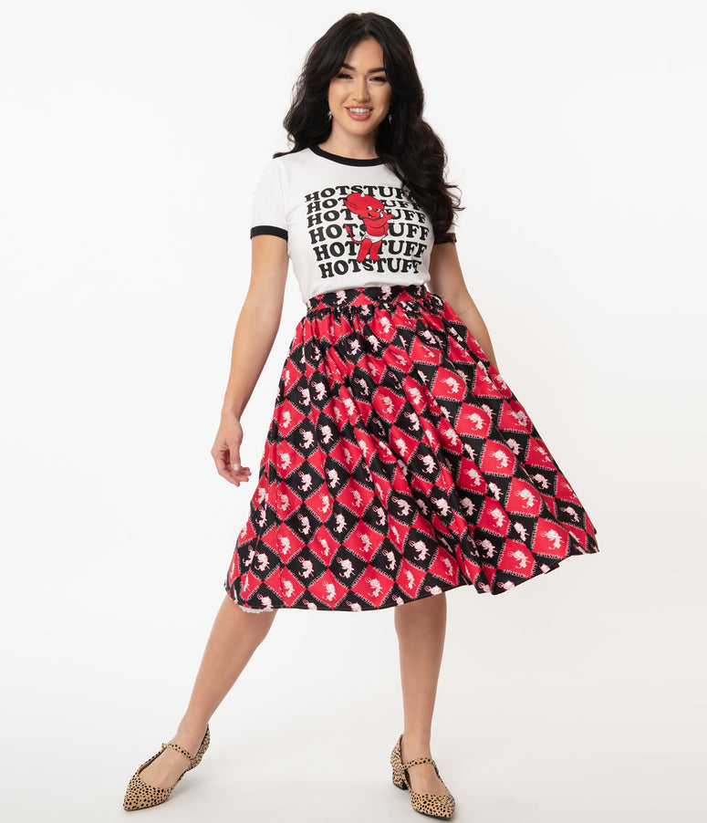 Hot Stuff x Unique Vintage Little Devil Checkered Print Swing Skirt