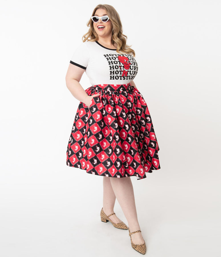 Hot Stuff x Unique Vintage Plus Size Little Devil Checkered Print Swing Skirt