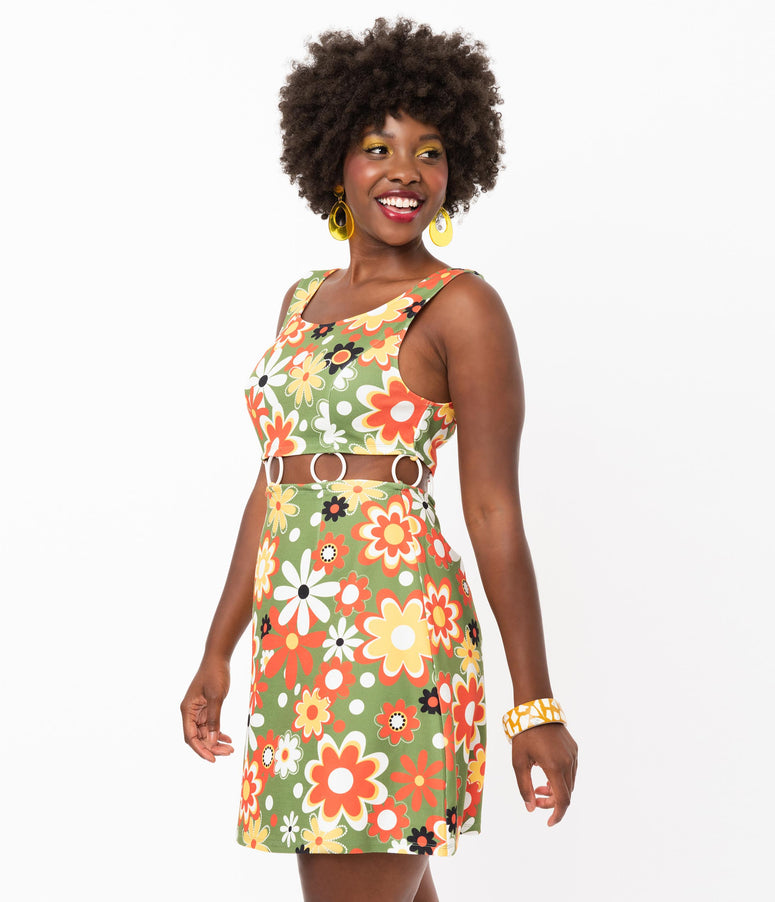 Smak Parlour Retro Geo Floral Print Gettin Groovy Dress
