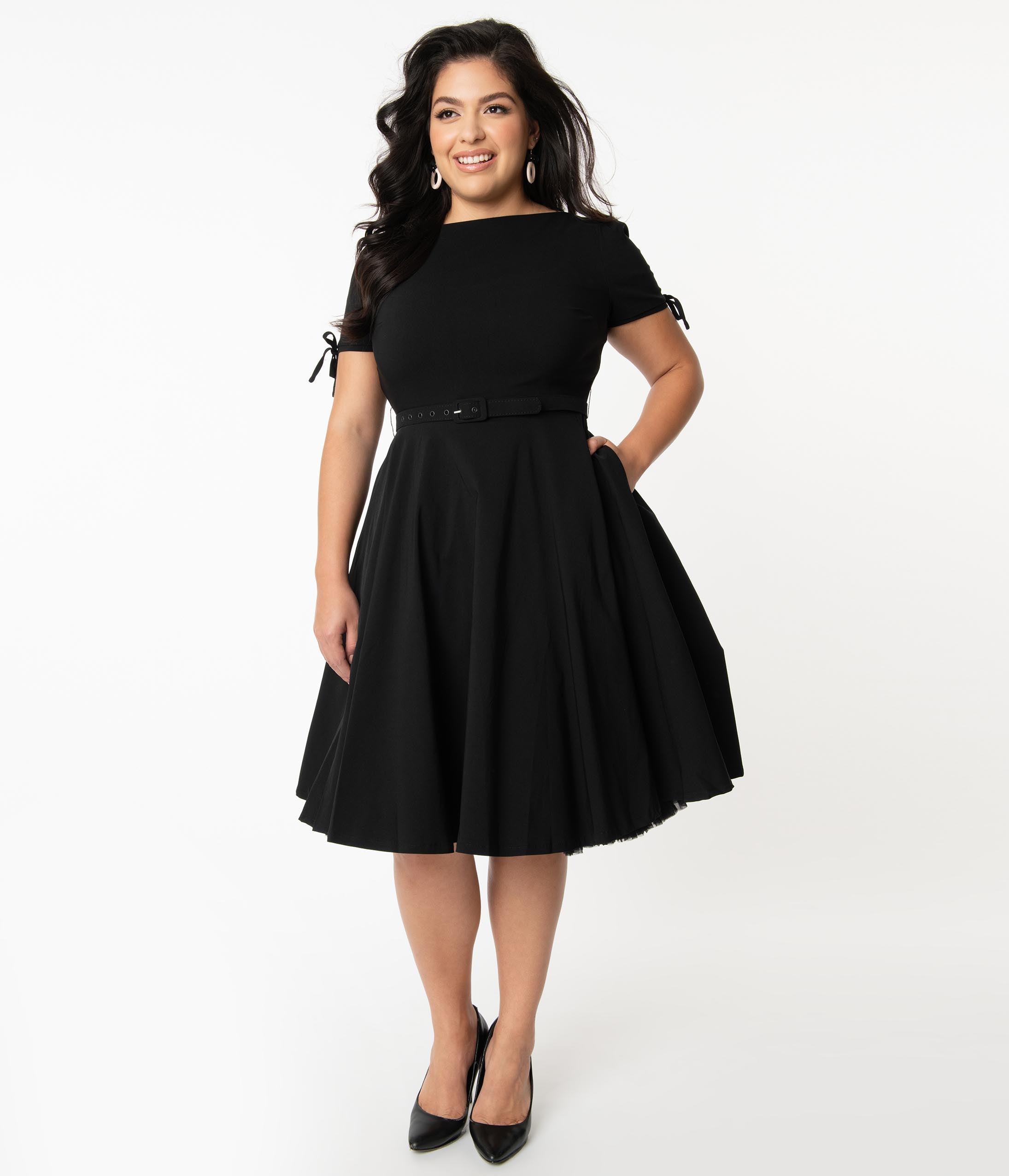 1950s Plus Size Fashion & Clothing History Unique Vintage Plus Size 1950S Black Sasha Swing Dress $78.00 AT vintagedancer.com