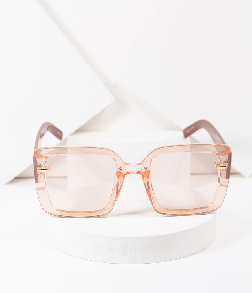 1970s Style Pink Square Sunglasses