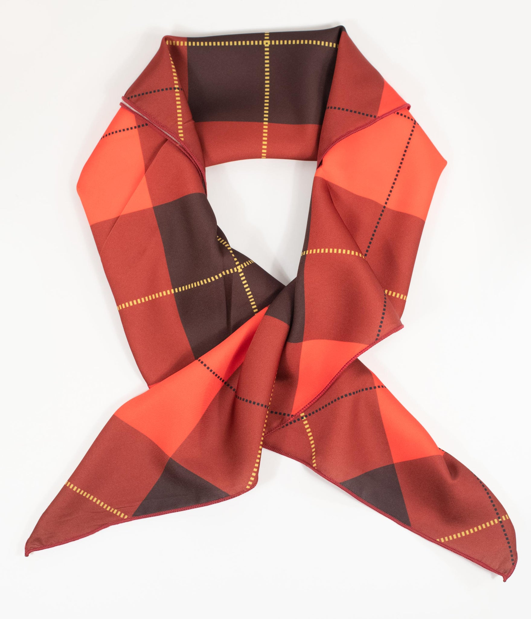 Unique Vintage Red & Brown Plaid Print Hair Scarf