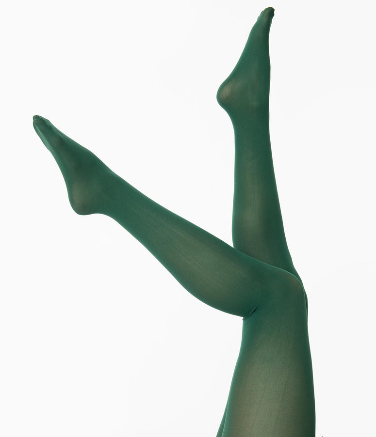 Hunter Green Nylon Opaque Tights