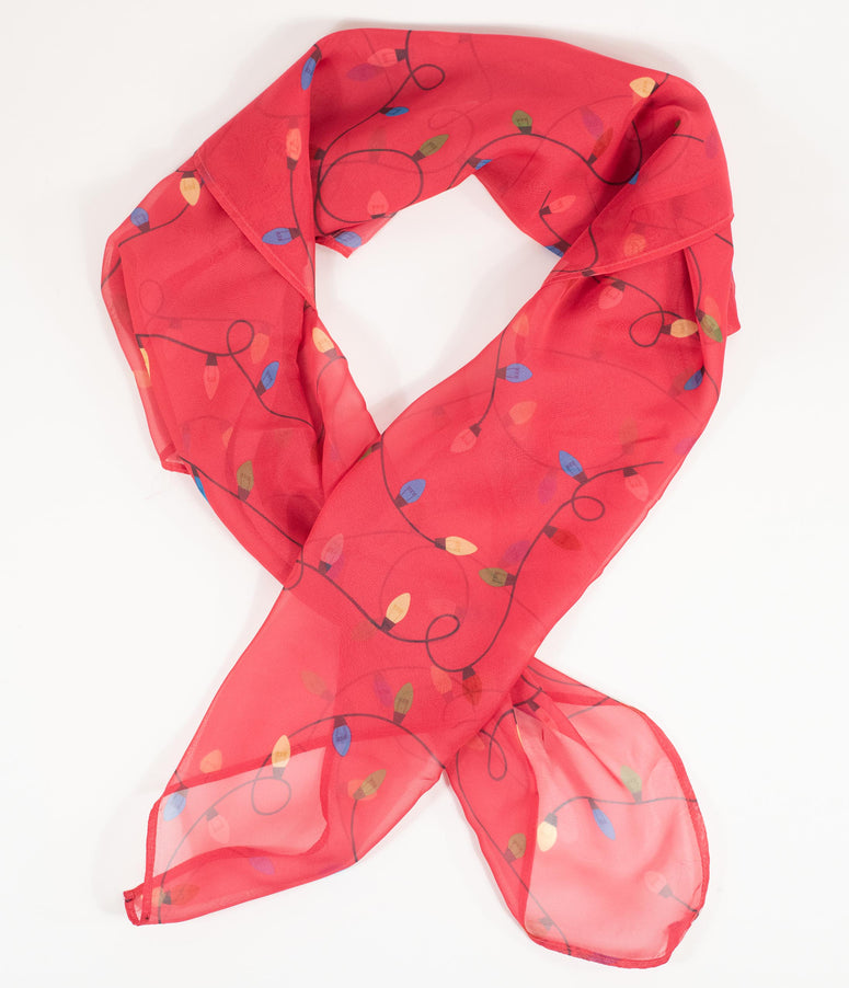 Unique Vintage Red & Christmas Lights Print Hair Scarf