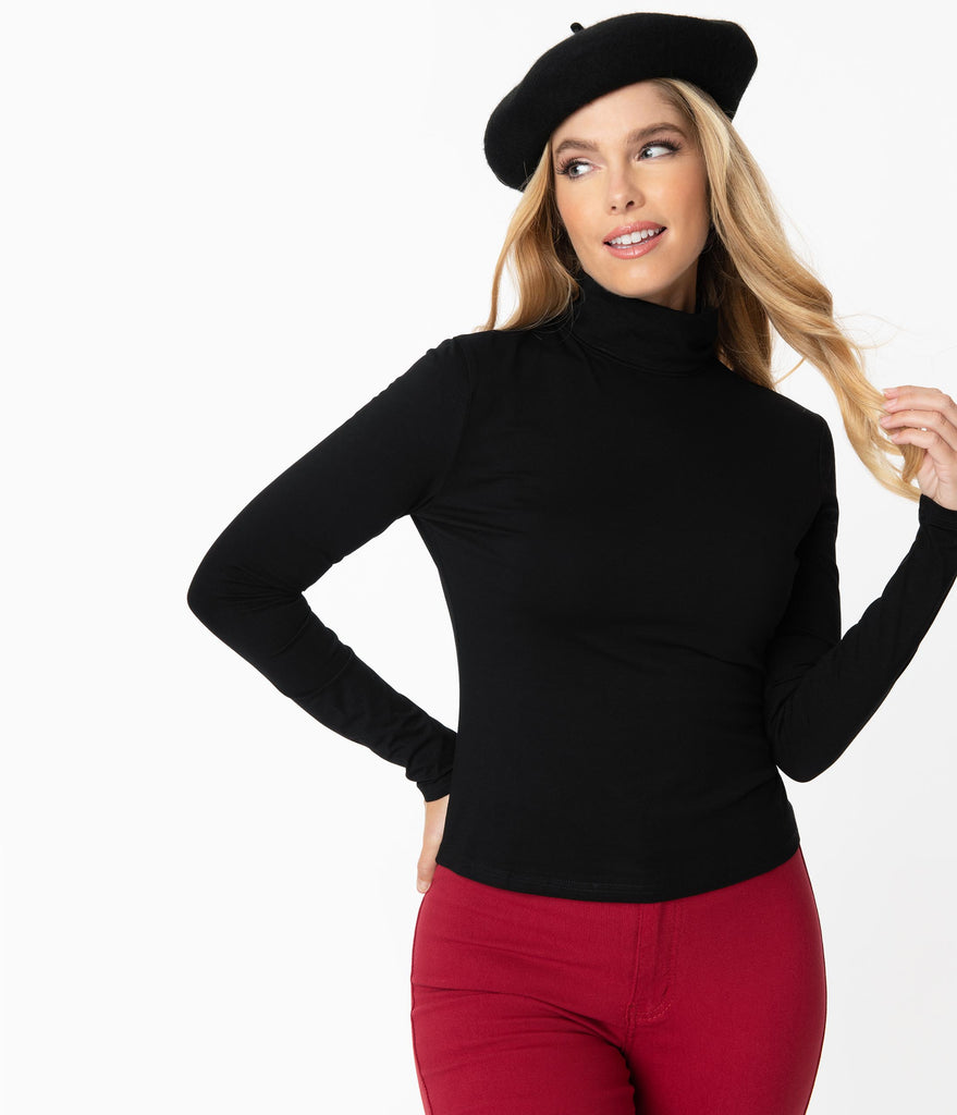 Black Turtleneck Classic Beauty Top