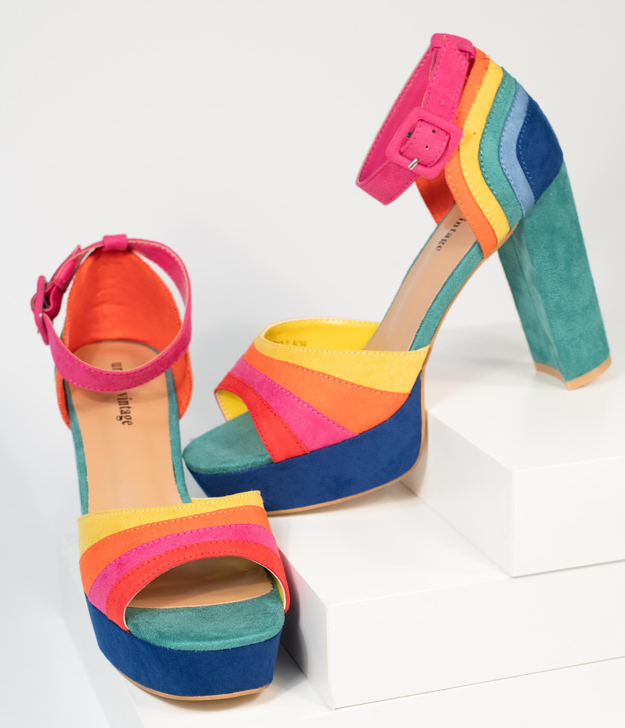 70s Shoes, Platforms, Boots, Heels | 1970s Shoes Unique Vintage Rainbow Suede Peep Toe Pumps $56.00 AT vintagedancer.com