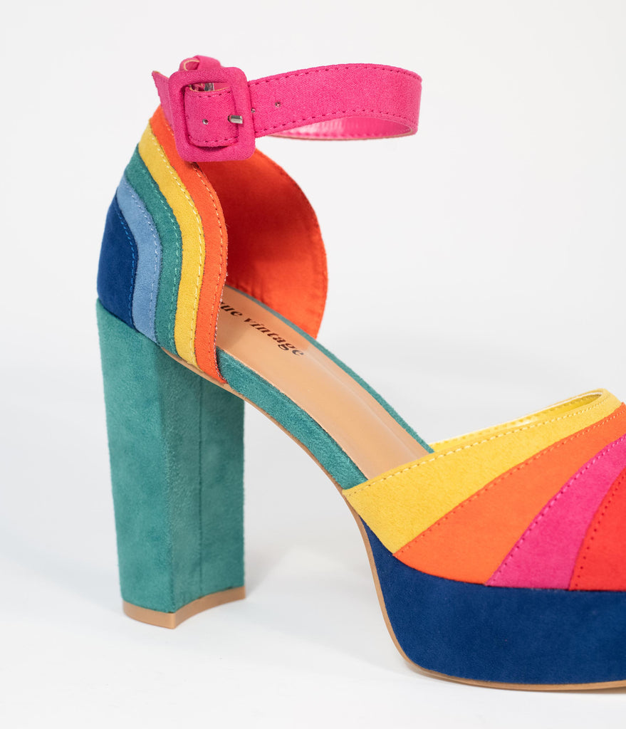 Unique Vintage Rainbow Suede Peep Toe Pumps