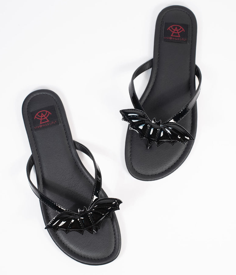 Black Leatherette Betty Bat Sandal