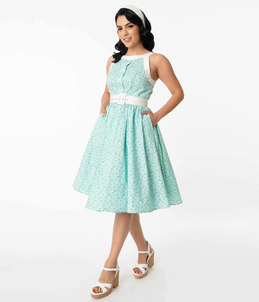 Unique Vintage Turquoise & Lighthouses Print Maxine Swing Dress