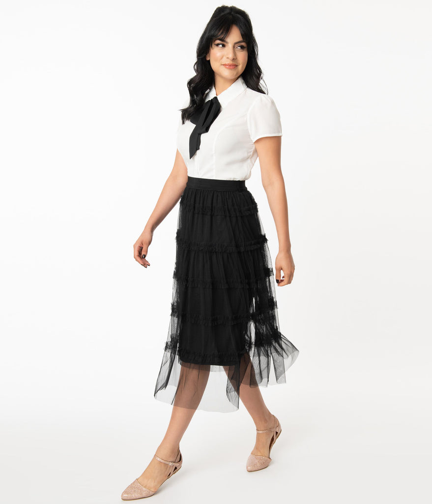Black Tiered Tulle Midi Skirt