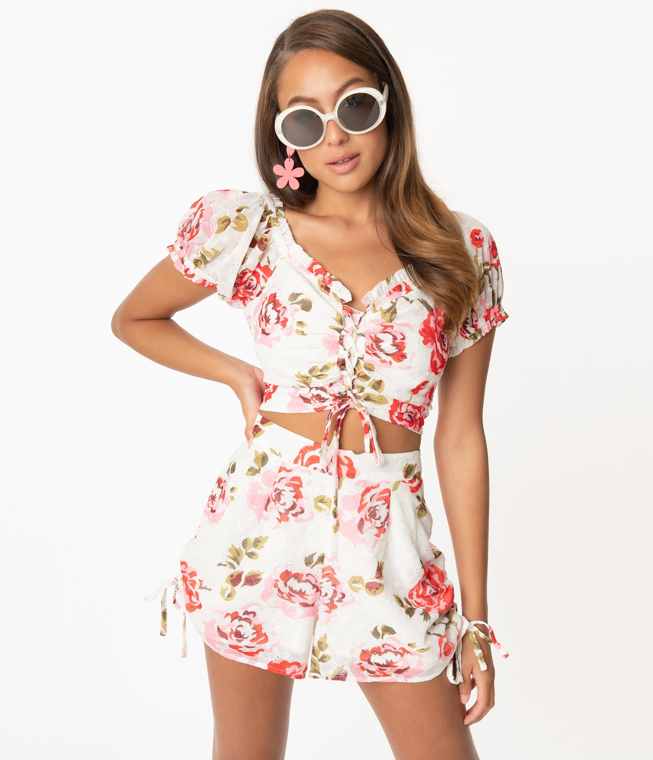 Vintage Rompers, Playsuits   Retro, Pin Up, Rockabilly Playsuits Smak Parlour White  Pink Floral Luncheonette Shorts $52.00 AT vintagedancer.com