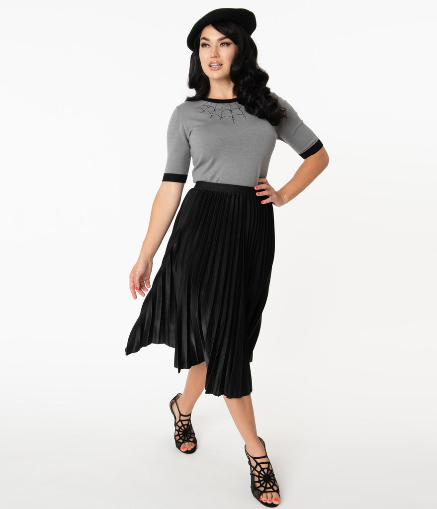 Retro Style Black Pleated Midi Skirt