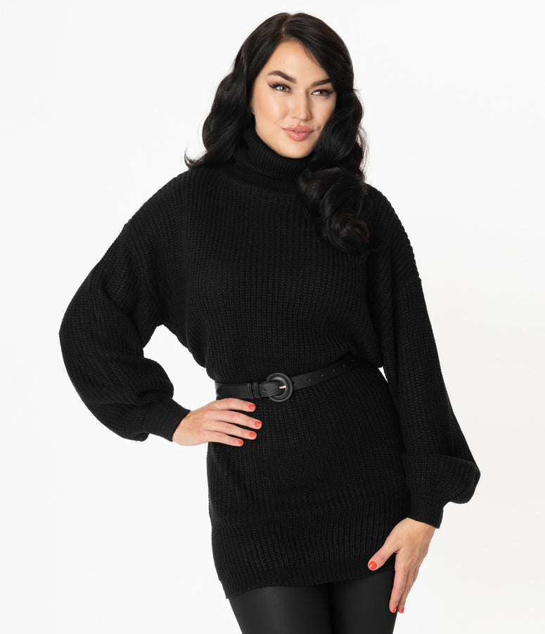 Black Oversized Turtleneck Sweater Tunic