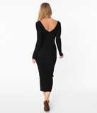 Black Rib Knit Fitted Sweater Dress