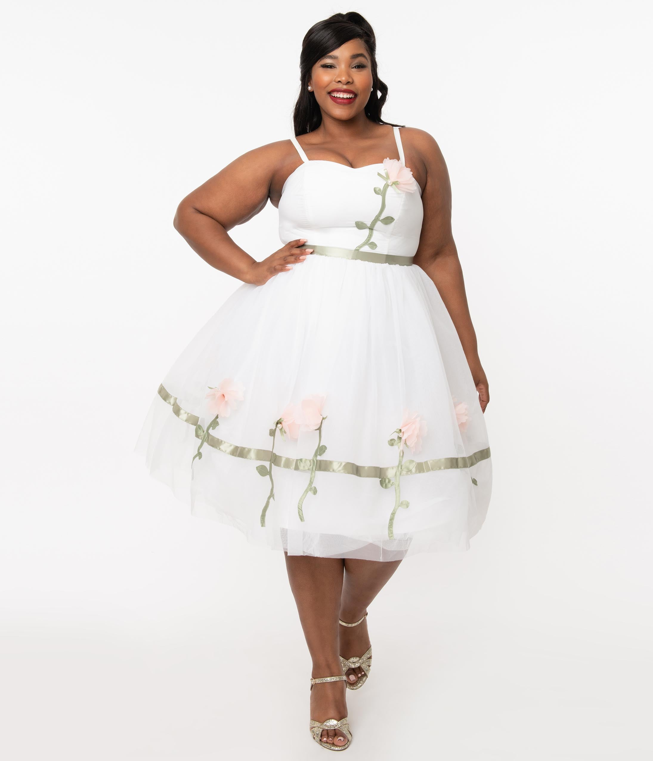 1950s Plus Size Fashion & Clothing History Unique Vintage Plus Size 1950S White  Pink Floral Bertie Swing Dress $128.00 AT vintagedancer.com