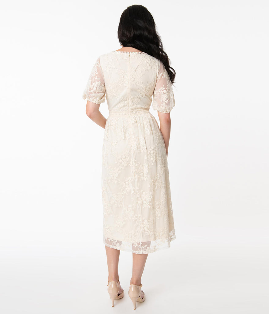 Unique Vintage Off White Lace Andie Midi Dress