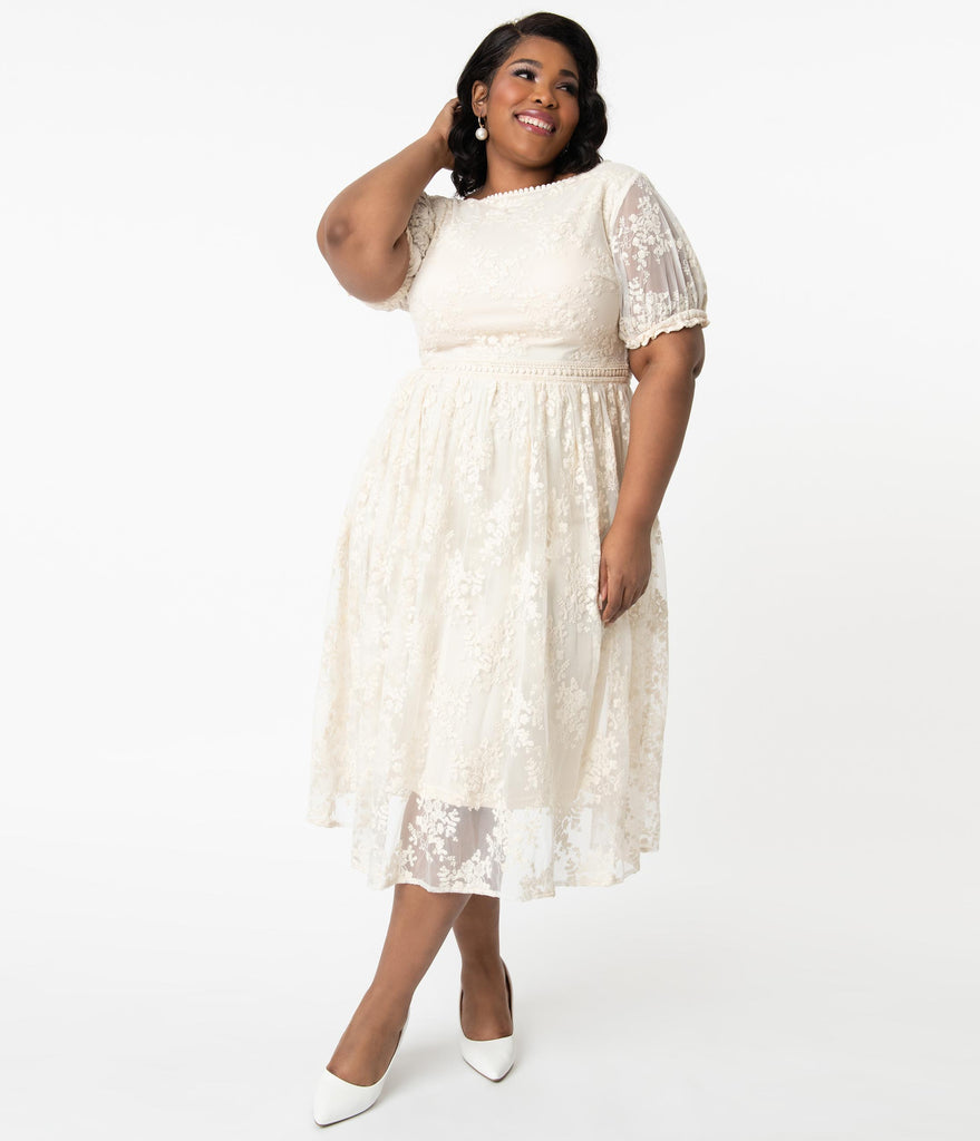 Unique Vintage Plus Size Off White Lace Andie Midi Dress