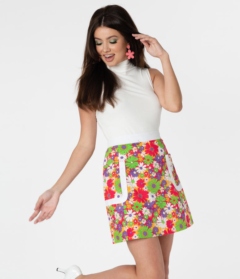 Smak Parlour Multicolor Daisy Print Walk The Walk Skirt