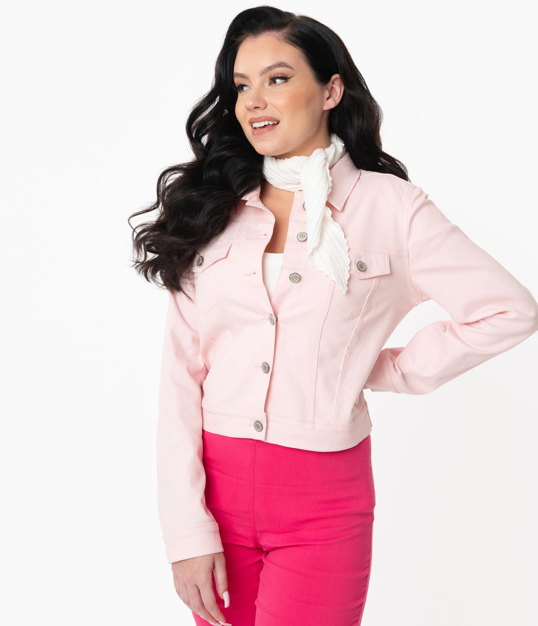 Vintage Coats & Jackets | Retro Coats and Jackets Grease X Unique Vintage Pink Ladies Denim Jacket $98.00 AT vintagedancer.com