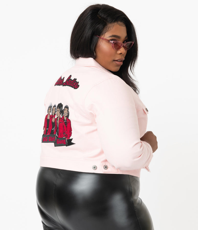 Grease x Unique Vintage Plus Size Pink Ladies Denim Jacket