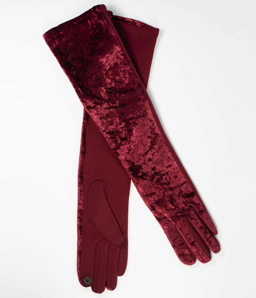 Vintage Style Burgundy Crushed Velvet Opera Gloves