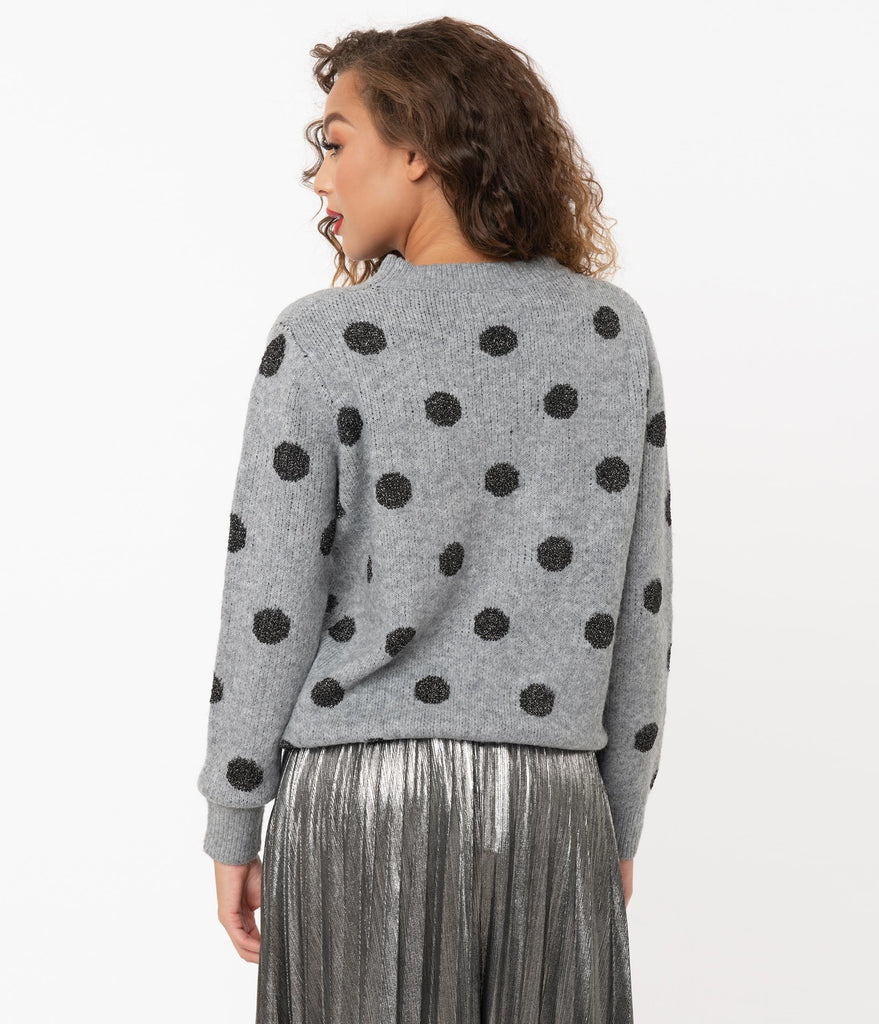 Grey & Metallic Black Polka Dot Sweater