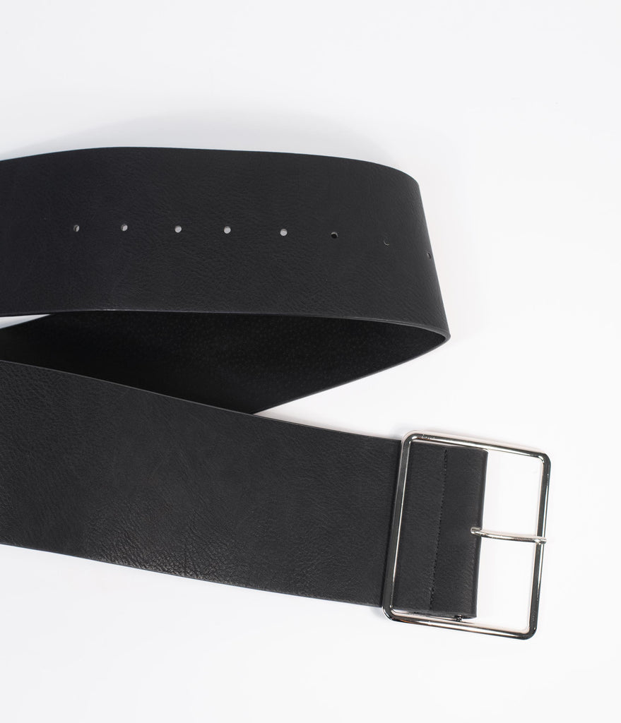 Black Wide Faux Leather Belt With Silver Buckle
