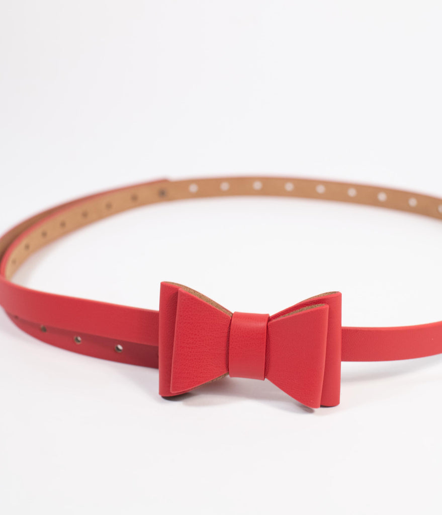Red Leatherette Bow Snap On Belt
