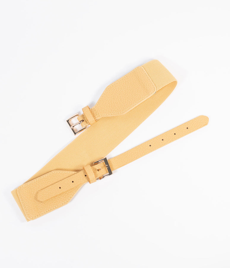 Yellow Leatherette Elastic Cinch Belt