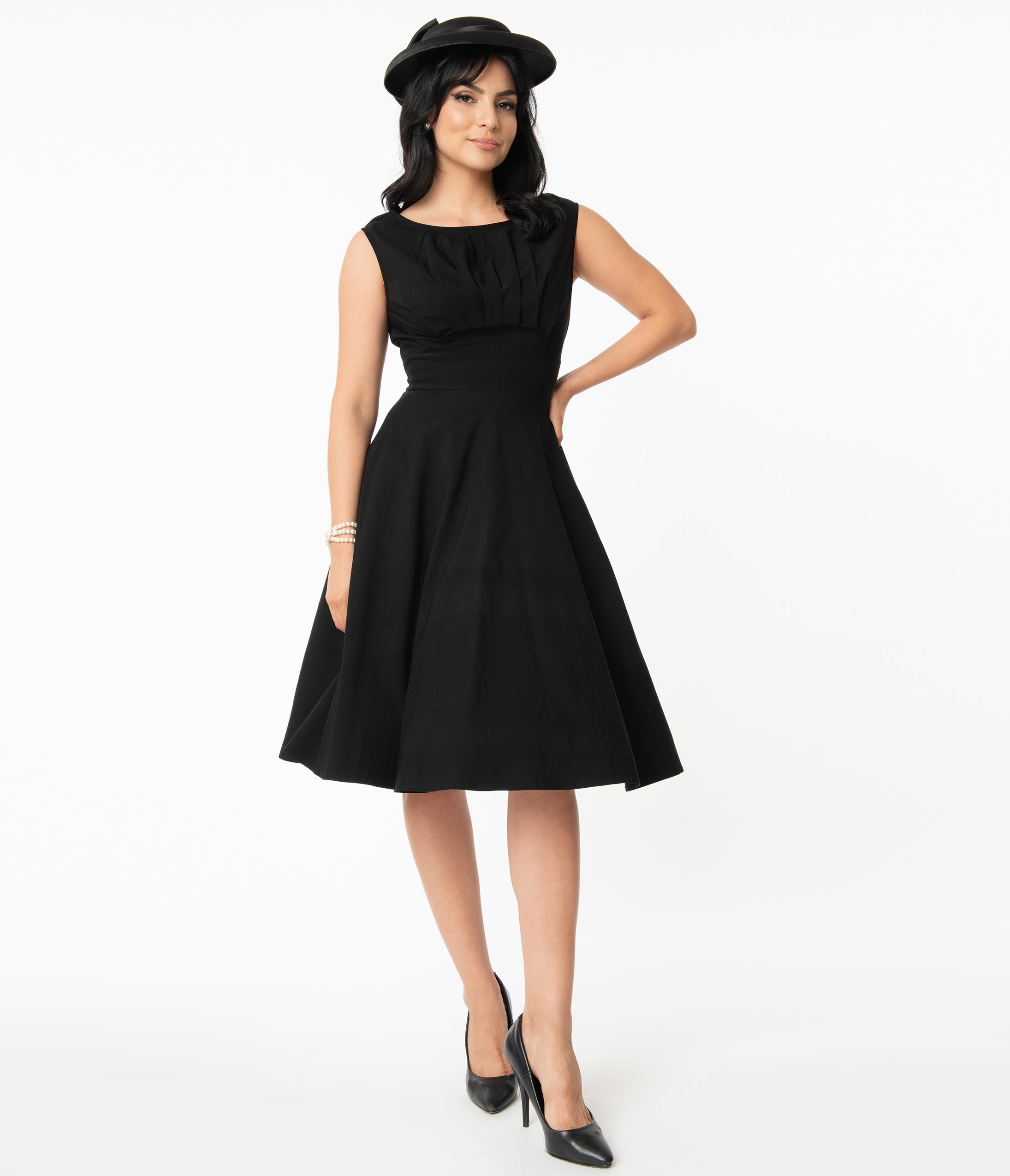 1950s Plus Size Dresses, Swing Dresses Unique Vintage 1950S Black Monaco Swing Dress $78.00 AT vintagedancer.com