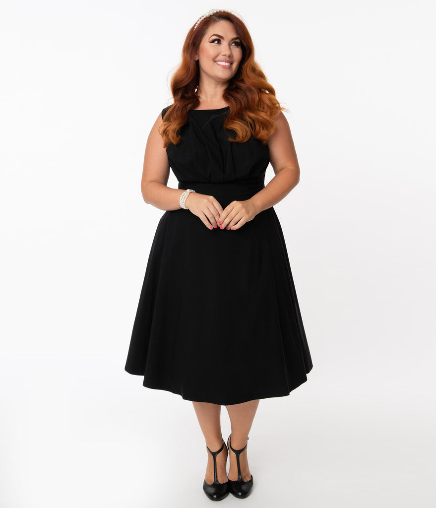 Unique Vintage Plus Size 1950s Black Monaco Swing Dress