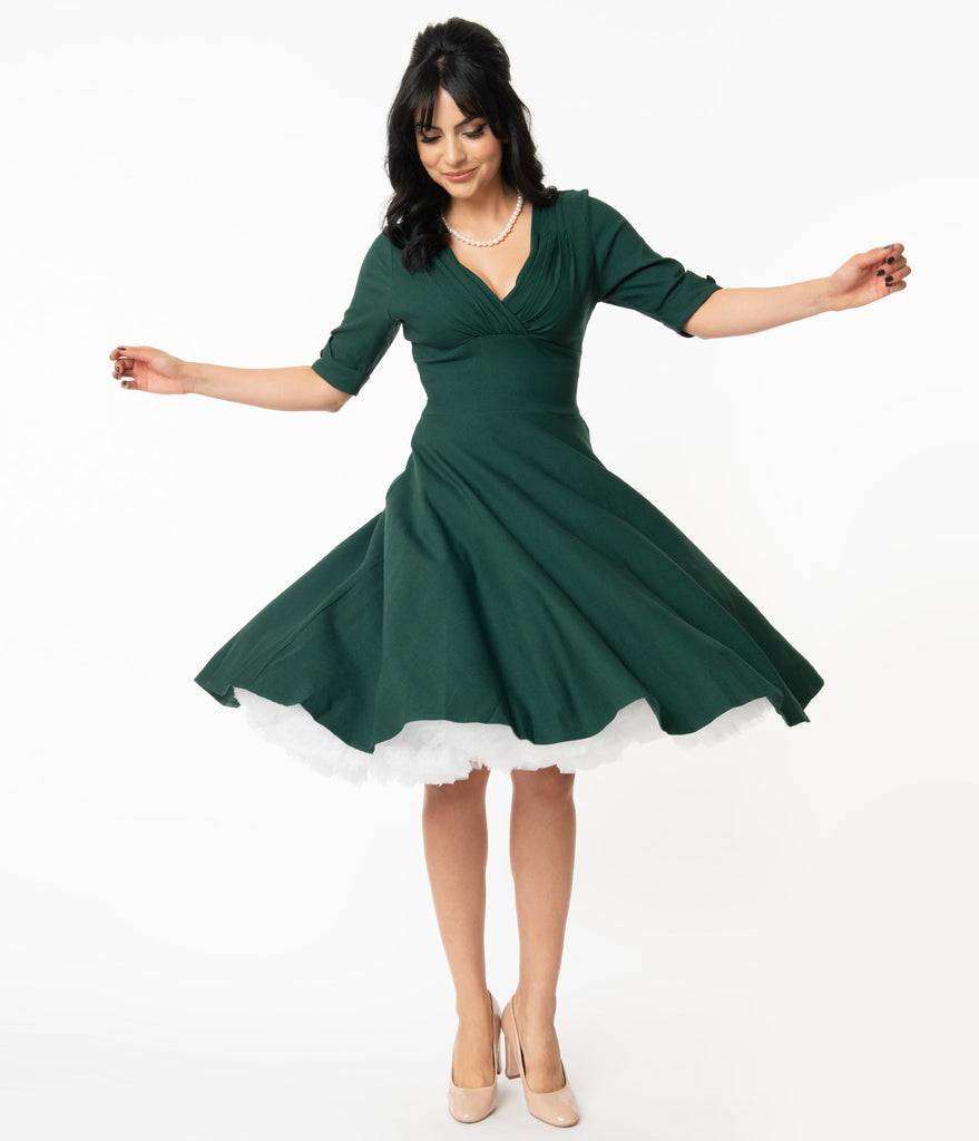 Unique Vintage Dark Green Delores Swing Dress with Sleeves