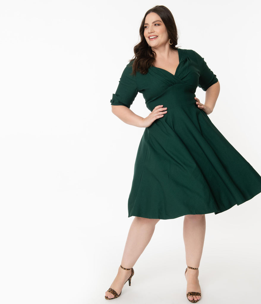 Unique Vintage Plus Size Dark Green Delores Swing Dress with Sleeves