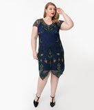 Plus Size 1920s Style Navy Blue Beaded Peacock Flapper Dress