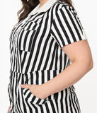 Unique Vintage Plus Size Black & White Striped Mia Romper