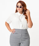 Unique Vintage Plus Size 1950s White Caroline Blouse
