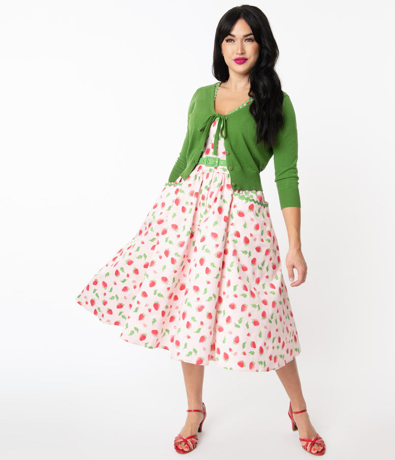 Unique Vintage Pink & Strawberry Print Syracuse Swing Dress