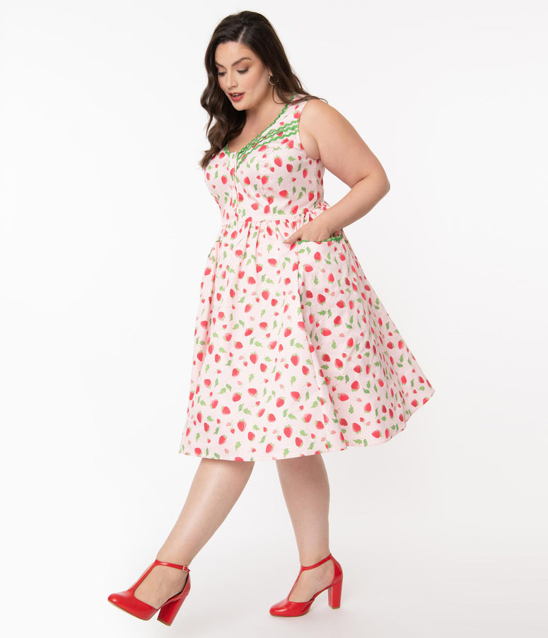 Unique Vintage Plus Size Pink & Strawberry Print Syracuse Swing Dress