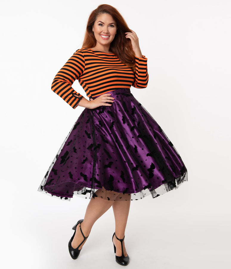 Plus Size Purple & Black Bats Tulle Swing Skirt