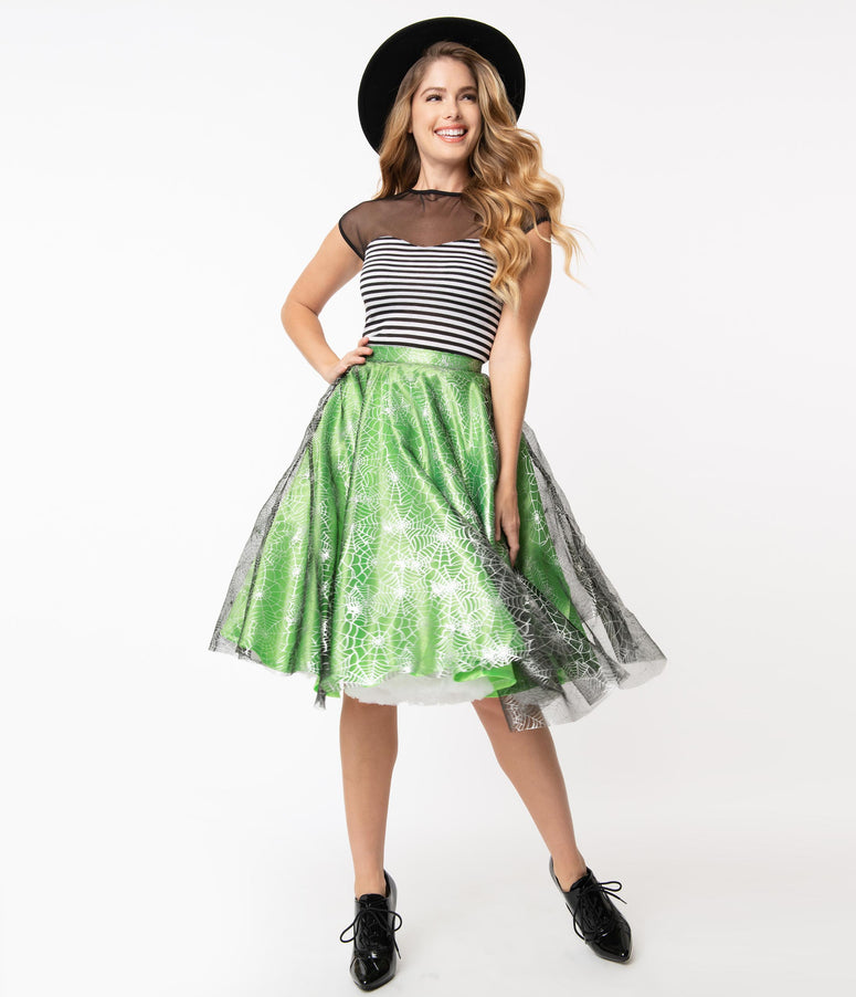 Green & Silver Spiderwebs Tulle Swing Skirt