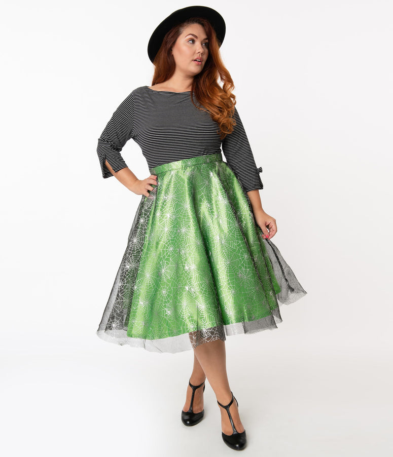 Plus Size Green & Silver Spiderwebs Tulle Swing Skirt