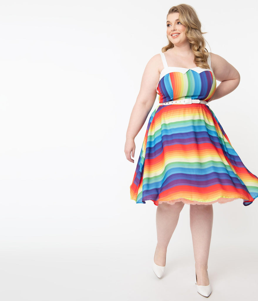Unique Vintage Plus Size Rainbow Stripe Rachel Swing Dress