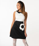 Smak Parlour Black & White Flower Model Maven Flare Dress