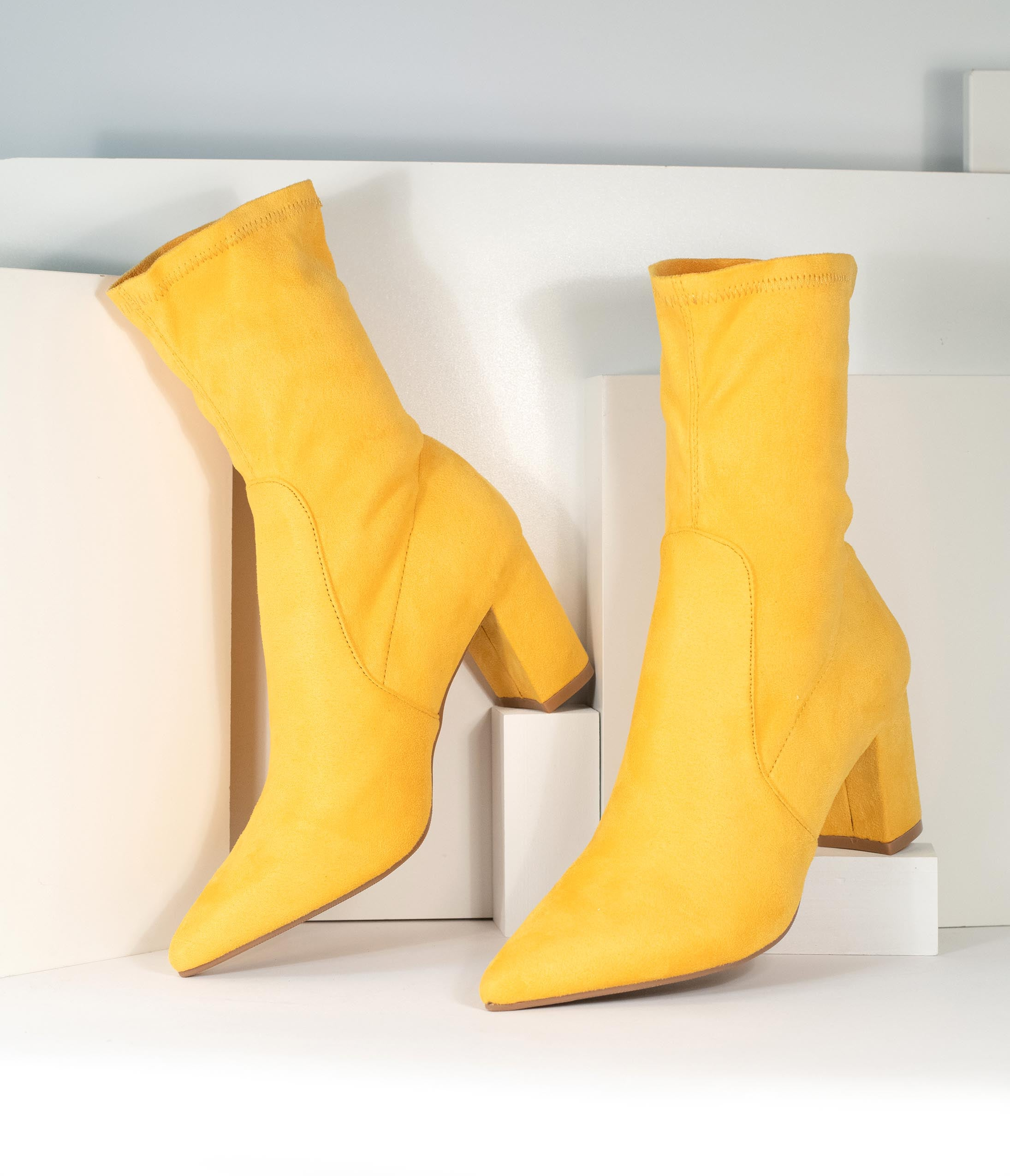 Vintage Boots- Buy Winter Retro Boots Mustard Suede Pointed Bootie $58.00 AT vintagedancer.com