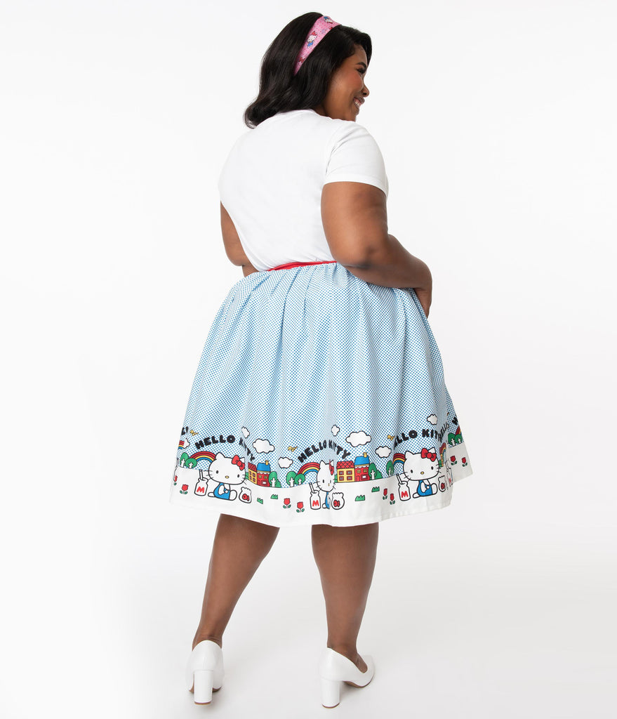 Hello Kitty x Unique Vintage Plus Size Border Print Gellar Swing Skirt